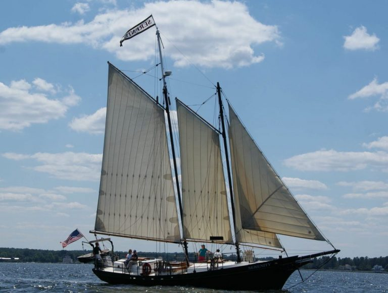 Schooner Serenity Under Full Sail Near Holland, Michigan