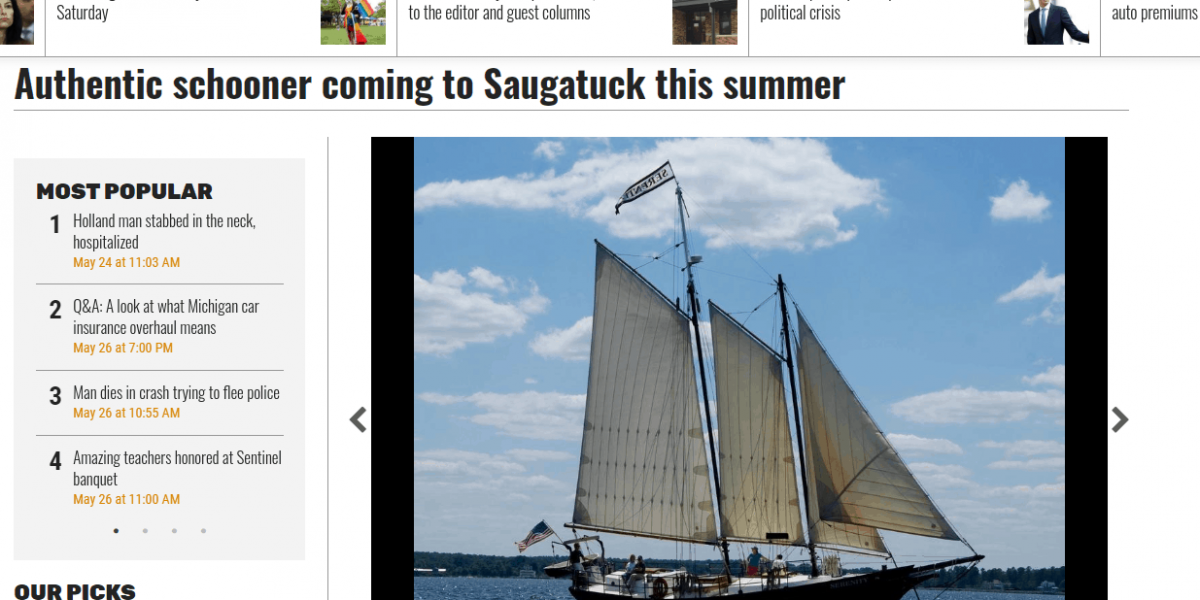 Schooner Serenity Featured in the Holland Sentinel